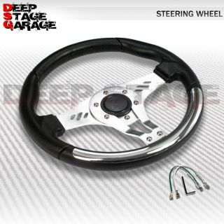 Universal 6 Bolt Aluminum Frame 320mm Racing Steering Wheel Black Chrome Decor