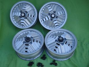 Set of 4 Saab 99 900 Turbo Alloy Inca Wheels 15x5 5 w Center Caps Lug Nuts