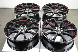 16 5x114 3 5x100 Black Wheels Celica Matrix mazdaspeed Prelude Civic 5 Lug Rims
