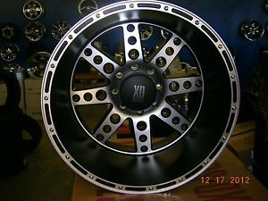 22x14 KMC XD766 Diesel Wheels Black Machined 8 Lug Ford 8x170