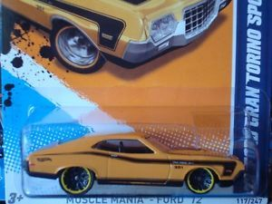 Hot Wheels 2012 Muscle Mania Ford Series Yellow 72 Ford Gran Torino Sport 117