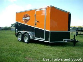 7x12 Double Motorcycle Enclosed Trailer w Harley Davidson Decals Blk Orange 2013
