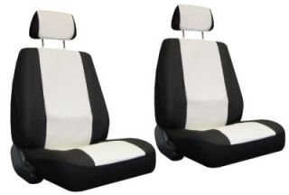 Off White Black Faux Leather 6 Piece Racing Car Seat Covers B