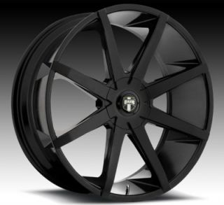 "22"" Dub Push BK Wheels and Tires Rims for Chevy Silverado Tahoe Escalade RAM"