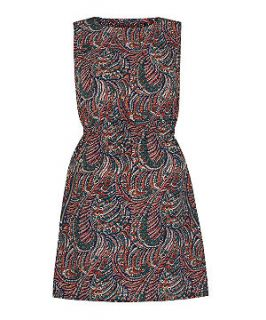 Apricot Navy Paisley Print Sleeveless Dress