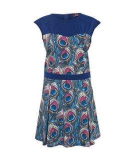 Lovedrobe Blue Feather Print Dress