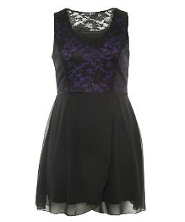 Lovedrobe Purple and Black Lace Overlay Sleeveless Dress