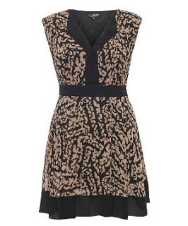 Lovedrobe Brown Contrast Print Dress