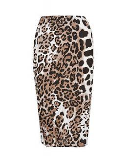 147 Fashion Brown Leopard Print Midi Skrit