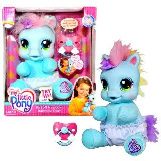 Hasbro Year 2007 My Little Pony 8 Inch Tall Talking Plush   So Soft Newborn Rainbow Dash with Pacifier Toys & Games