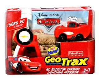 Fisher Price Year 2009 GeoTrax Transportation Disney Pixar Cars Series RC Radiator Springs Lightning McQueen with Cool Phrase from the Movie, Easy to Use Remote Control and Turbo RC that Makes McQueen Go Twice as Fast as Other Geo Trax Vehicle Toys &