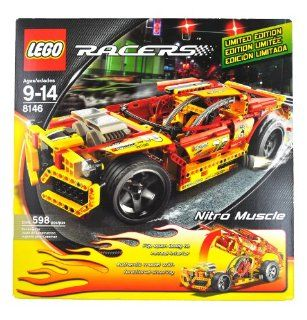 "Lego Year 2007 Limited Edition Power Racers Series 15 Inch Long Car Set # 8146   NITRO MUSCLE with Oversized Rear Wheels, Custom Interior, Massive ""Engine"" and Metallic Decals Plus Flip Open Feature to Reveal the Interior (Total Pieces 598) Toy"