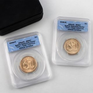 2011 ANACS MS67 P  and D Mint Native American Dollar Set