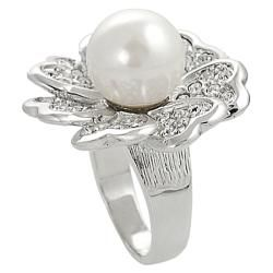 Silvertone Cubic Zirconia and Faux Pearl Flower Ring Tressa Pearl Rings