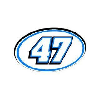 47 Number Jersey Racing   Blue   Window Bumper Sticker Automotive