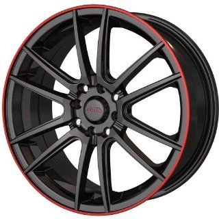 Akita AK77 16 Black Red Wheel / Rim 5x105 & 5x112 with a 40mm Offset and a 72.62 Hub Bore. Partnumber 477 6719B Automotive