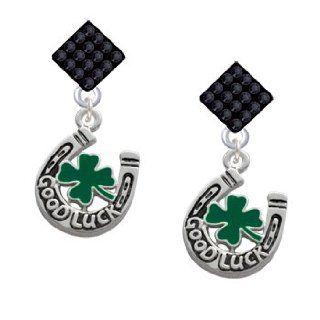Good Luck Horseshoe with Green Four Leaf Clover Jet Black Crystal Diamond Sha Jewelry