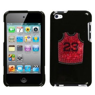 Black Cover Red and Black Basketball Jersery Number 23 Jordan Chicago Bulls Design Multi Color Executive Swarovski Diamond Bling Bling Crystal for Apple Ipod Touch 4th Generation Ipod Touch 4 8gb 32gb 64gb Snap on Hard Plastic Durable Cover Everything Els