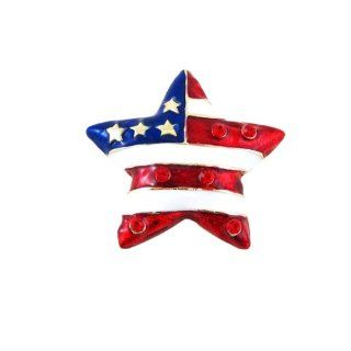 American Flag Star Shaped Pin / Pendant Patriotic Dual Function Jewelry