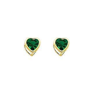 14K Yellow Gold 5mm Heart Bezel Set May CZ Birthstone Stud Earrings for Baby and Children (Emerald, Green) The World Jewelry Center Jewelry
