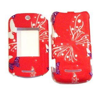 Hard Plastic Snap on Cover Fits Motorola VE20 RAZR Butterfly Dot/Hot Pink Sprint Cell Phones & Accessories
