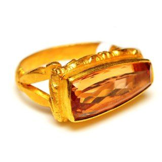 18kt Solid Yellow Gold Topaz Gemstone Ring Antique Style Jewelry for Christmas Jewelry