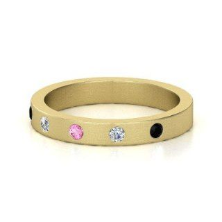 Anahit Band Round Pink Sapphire 14K Yellow Gold Ring with Diamond & Black Onyx Jewelry