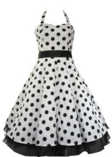 50's Big Polka Dot Dress White & Black   8 (US), 12 (UK) Clothing