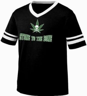 Stone To The Bone Mens Ringer T shirt, Funny Trendy Hot Weed Smoking Mens V Neck Tee Shirt Clothing