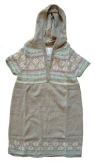 Justice Girls Fairisle Short Sleeve Sweater Dress with Hood, Heather Grey, 10 Clothing
