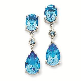 14K White Gold Blue Topaz Dangle Earrings   Gold Jewelry Reeve and Knight Jewelry