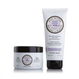 Perlier Double Size 99% Shea Butter and Hand Cream with Lavender Extract