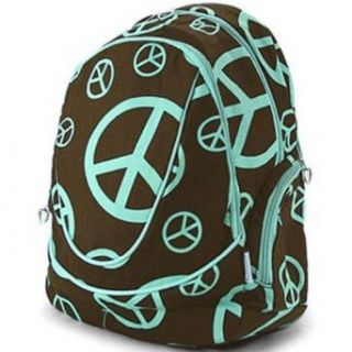 Turquoise Blue Brown Peace Sign Backpack Gym Diaper School Bag Clothing