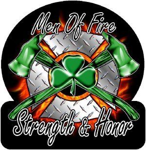 "Firefighter Decal/Sticker   4""x4"" Diamond Plate Men of Fire, Strength & Honor Irish Exterior Window Decal  Other Products"