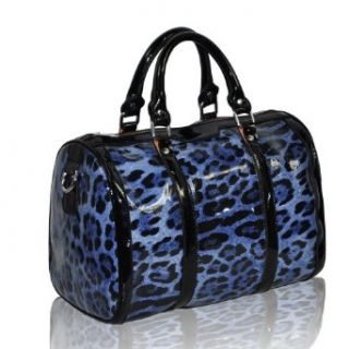 Motony Real Leather Fashion leopard Pattern High capacity Ladies handbag Blue Shoes