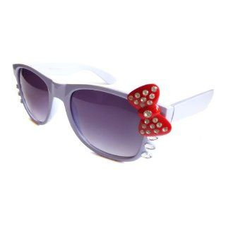 CUTE HELLO KITTY Women Nerd Sunglasses PURPLE Frame RED Bow with SILVER Rhinestone
