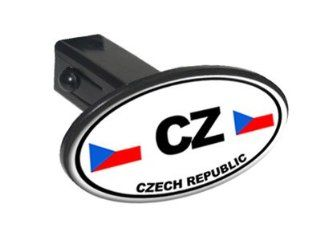 "CZ Czech Republic Country Euro Auto Oval   1 1/4 inch (1.25"") Tow Trailer Hitch Cover Plug Insert Automotive"