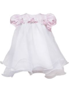 Rare Editions Baby Girls Infant Wire Hem Dress, Pink/White, 24 Months Clothing