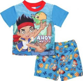 "Disney Jake & Neverland Pirates Boy's Blue ""Ahoy Mateys"" Shirt & Shorts Pajama Set (2T) Clothing"