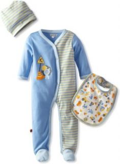 MINI BAMBA APPAREL Baby Boys Infant Mix Up Footed Romper Set With Hat And Bib, Multi, 12 Months Clothing