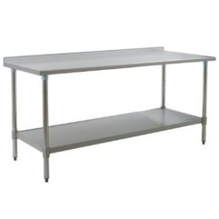 "Eagle Group UT3672E 36"" x 72"" Stainless Steel Work Table with Undershelf and 1 1/2"" Backsplash"
