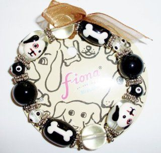 Dog Puppy Pet Bones Stretch Bracelet Glass Beads Haind Painted Jewelry
