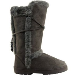 Womens Tall Faux Fur Lined Thick Sole Winter Snow Boots Shoes
