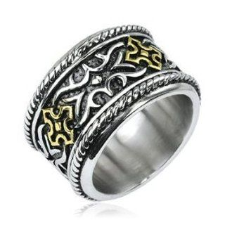 316L Stainless Steel Gold IP Cross Knight Armor Wide Ring Jewelry