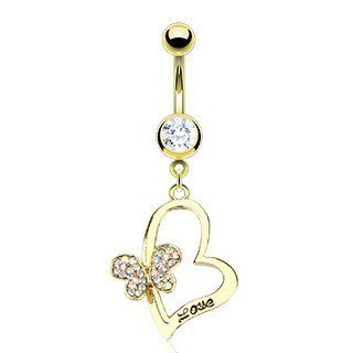 "Body Accentz™ Belly Button Ring Gold IP Over 316L Surgical Steel Navel Ring with Paved Gem Butterfly on Engraved 'LOVE' HeartGemmed Royal Shield Plate Gold Plate Dangle 14 Gauge 3/8"" Jewelry"