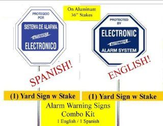 "Security Sign   #102/102S Combo 1 English & 1 Spanish Burglar Alarm System Deterrence Signs on 36"" Yard Stakes with Safety Caps"