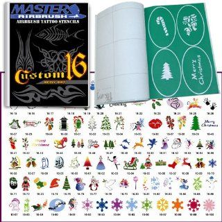 Master Airbrush� Brand Airbrush Tattoo Stencils Set Book #16 Reuseable Tattoo Template Set, Book Contains 102 Unique Stencil Designs, All Patterns Come on High Quality Vinyl Sheets with a Self Adhesive Backing.