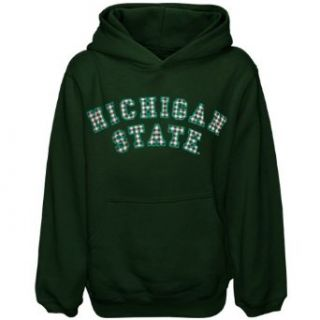 NCAA Michigan State Spartans Youth Girls Green Gingham Diva Pullover Hoodie Sweatshirt (Small) Clothing