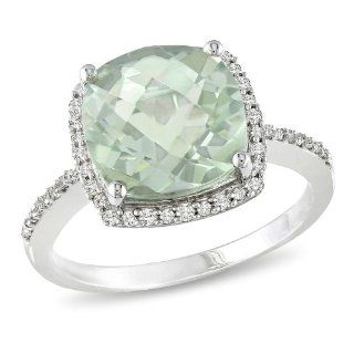 Sterling Silver Accent Diamond and Green Amethyst Ring (0.1 Cttw, G H Color, I3 Clarity) Jewelry