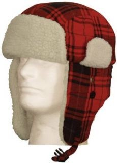 Winter Aviator Faux Fur Trooper Trapper Hat (Plaid) Clothing